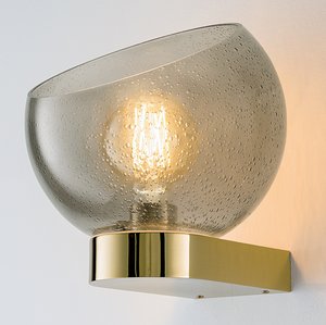 Brushed brass and glass wall light - detail