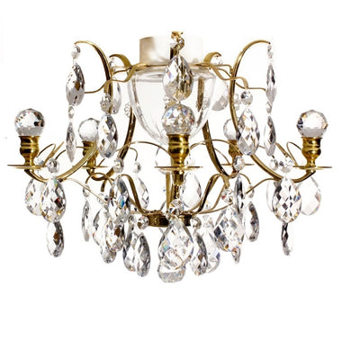 Brass bathroom chandelier with crytstal orbs IP44
