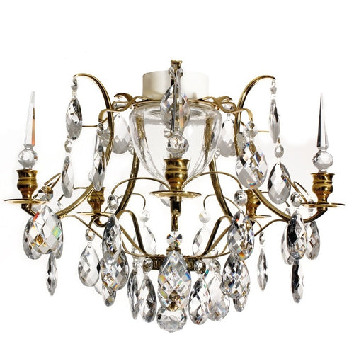 Brass bathroom chandelier with almond crystals IP44