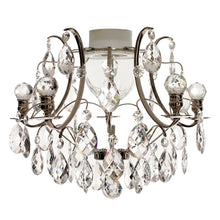 Chrome bathroom chandelier with crystal orbs and almonds IP44