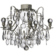 Nickel bathroom chandelier with orbs and pendeloques IP44