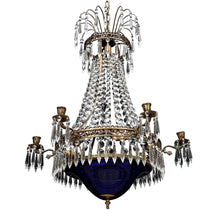 Swedish Crystal Chandelier 1900's - blue bowl
