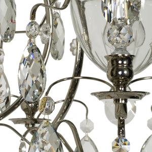 Bathroom Chandelier: Nickel with crystal spears & crystal almonds