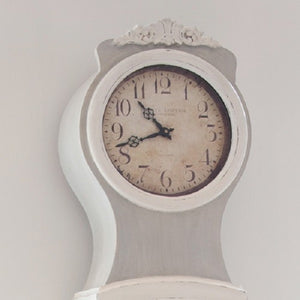 French Grey painted replica Mora Clock - face