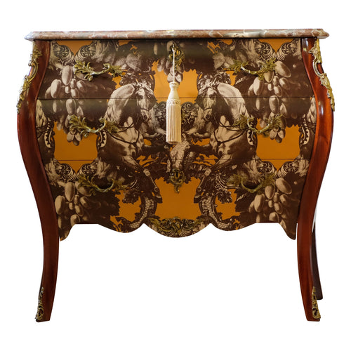 (105) Rococo Three Drawer Chest With Marble Top (DaVinci)
