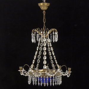 antique swedish chandelier - crystal detail