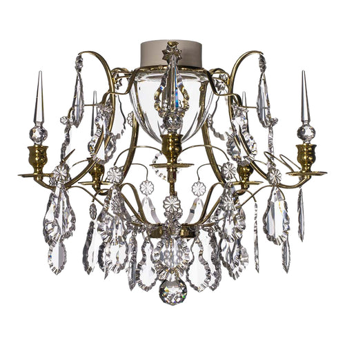 Brass bathroom chandelier with crystal pendeloques