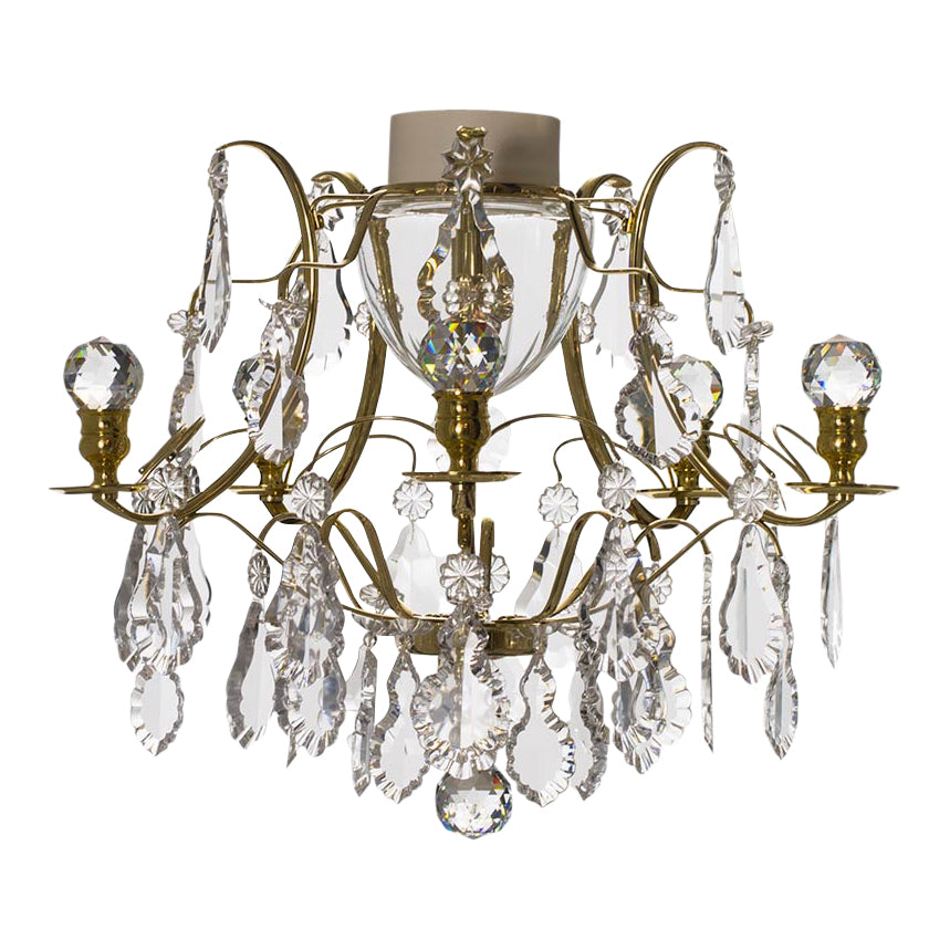Brass bathroom chandelier with crystal orbs and pendeloques IP44