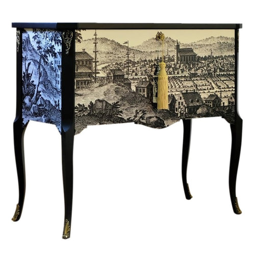 (202-1) Gustavian Commode with 17th Century Style Print (Single) (DaVinci)