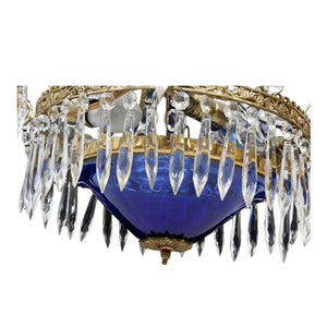 Antique Crystal Chandelier 1900's - blue
