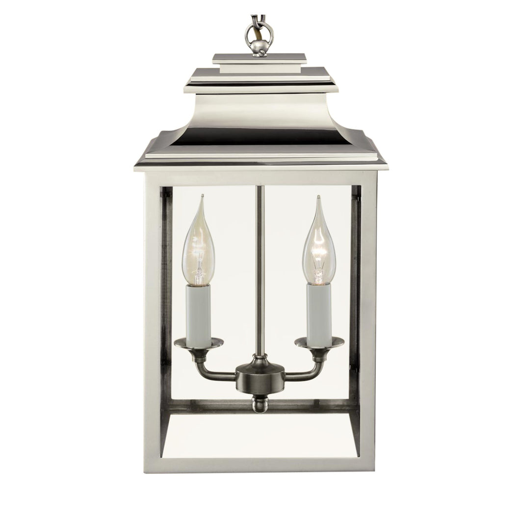 2 candle polished nickel lantern