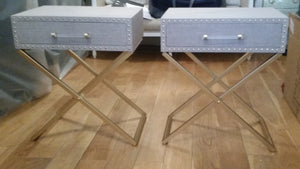 Pair of Gold Cross Leg Linen Bedside Tables