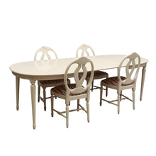 Gustavian Dining Table with 4 carved Rose chairs - ex display - UK delivery