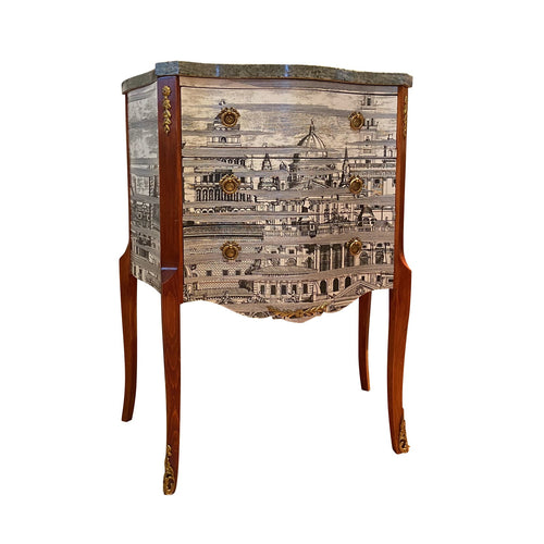 (111) Antique Fornasetti Chest with Grey Marble Top (DaVinci)