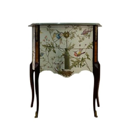 (108-2) Hummingbird Pattern Louis XV Commode (DaVinci)