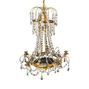 Antique Gustavian Chandelier With Red Crystal Bowl With Floral Pattern