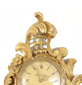 Rococo style wall clock from 1900 - carving detail