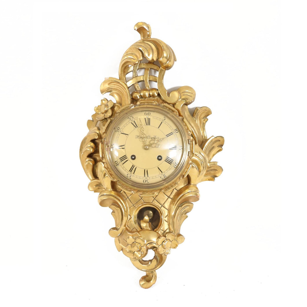 Rococo style wall clock from 1900