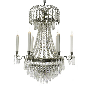 Empire 6 arm drop bottom crystal chandelier