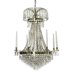 Polished brass Empire style chandelier with 8 arms and crystal octagons
