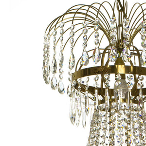Empire Crystal Chandelier: Polished brass 8 arm chandelier with crystal octagons