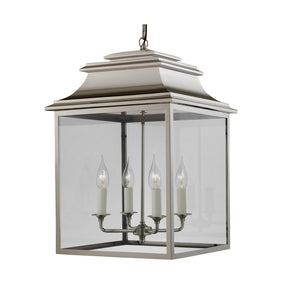 4 candle polished nickel lantern