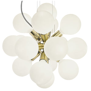 Brass spherical chandelier with white spherical bulbs