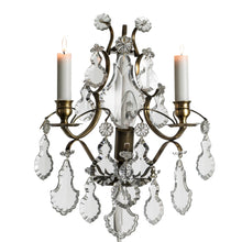 Dark Brass Wall Sconce with pendeloque crystals
