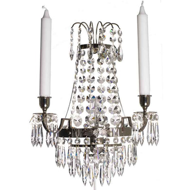 Empire style nickel Wall Sconce with crystals