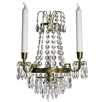 Empire style cognac colured brass Wall Sconce with crystals