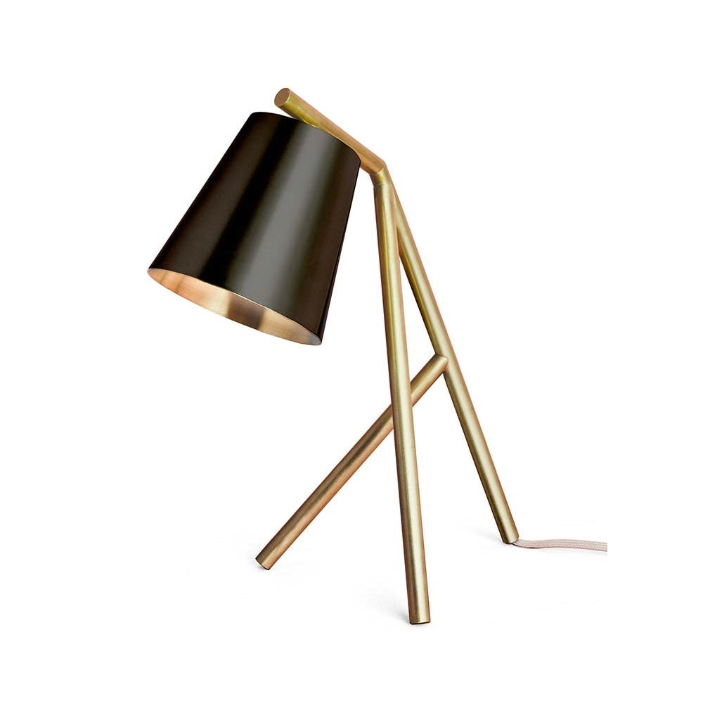 Brushed brass table lamp with matt black shade