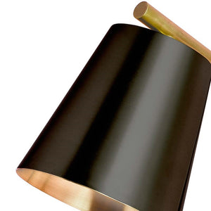 Brushed brass table lamp with matt black shade - shade