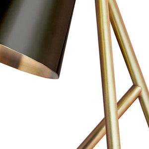 Brushed brass table lamp with matt black shade - frame