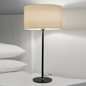 Satin black with brushed brass Avenue table lamp with shade - detail