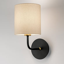 Satin black with brushed brass wall light with shade - detail