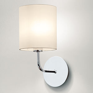 Polished chrome wall light with shade - detail