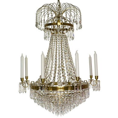Brass Empire 8 arm chandelier with crystal drops