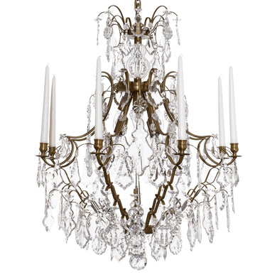 Brass large 8 arm Baroque style chandelier with pendeloque crystals
