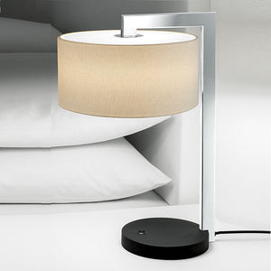 Chicago satin black with polished chrome table lamp with shade - detail