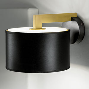 Deco black bronze with English brass wall lamp with shade - detail