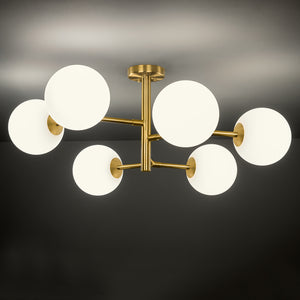 6 arm constellation brushed brass pendant light - detail
