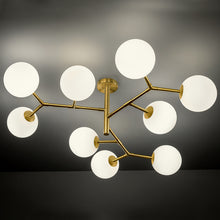 9 arm constellation brushed brass pendant light - detail
