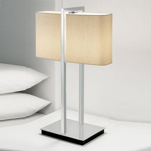 Polished chrome with black underbase table lamp - detail