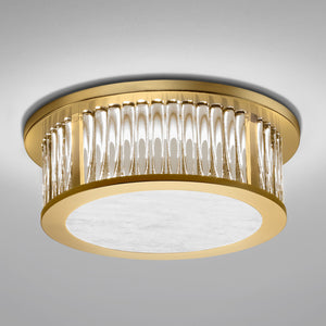 Polished Brass Ceiling Light with Crystals Rods - detail