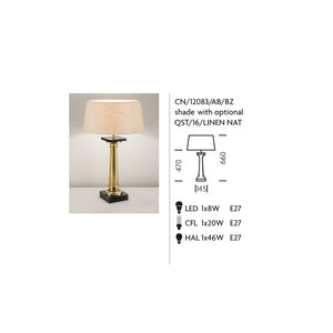 Solid Cast Brass Lamp With Linen Shade - measurements