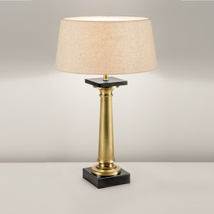 Solid Cast Brass Lamp With Linen Shade - detail