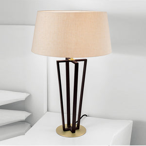 Black bronze with antique brass accents table lamp and shade - detail