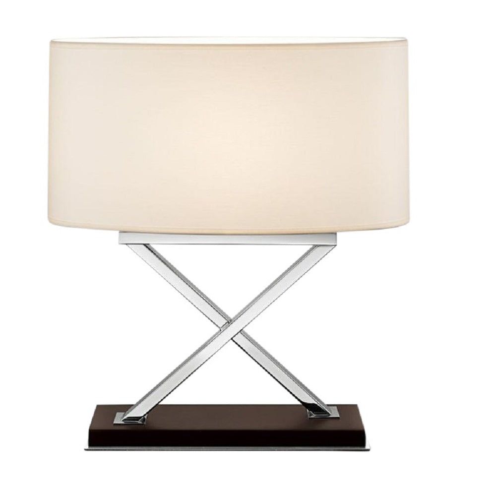 Polished Chrome Table Lamp on Wood