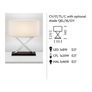 Polished Chrome Table Lamp on Wood - measurements