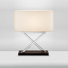 Polished Chrome Table Lamp on Wood - detail